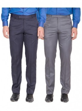 American-Elm Men Nevy, Dark Grey Colour Formal Trousers- Pack of 2