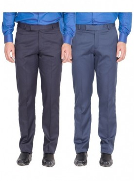 American-Elm Men Nevy, Blue Colour Formal Trousers- Pack of 2