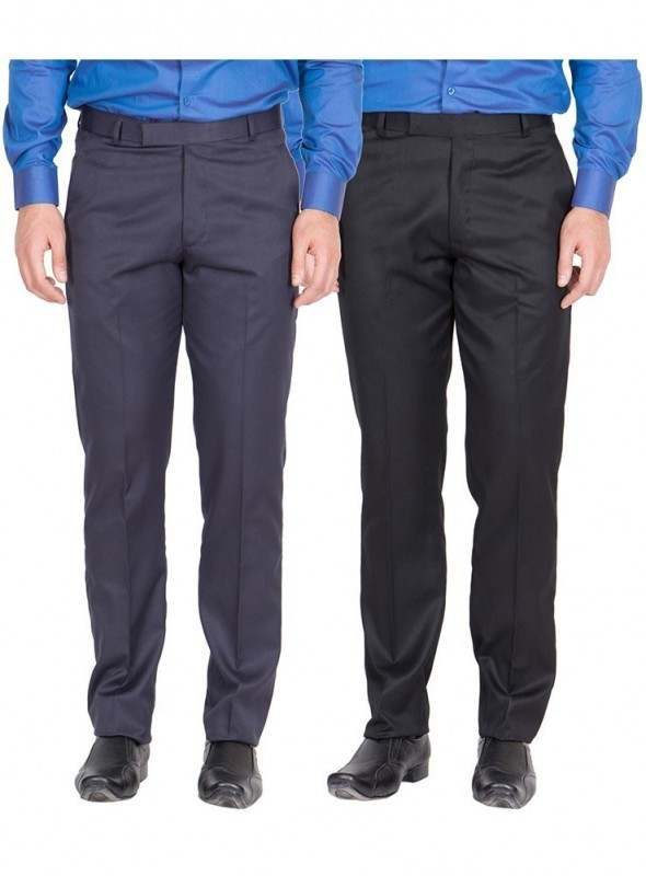 American-Elm Men Nevy, Black Colour Formal Trousers- Pack of 2