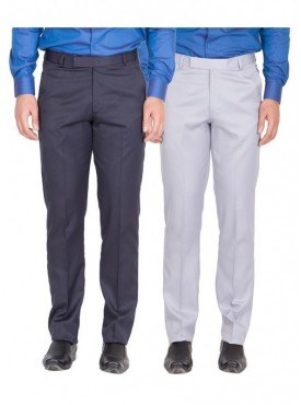 American-Elm Men Nevy, Grey White Colour Formal Trousers- Pack of 2