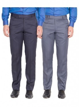 American-Elm Men Nevy, Grey Blue Colour Formal Trousers- Pack of 2