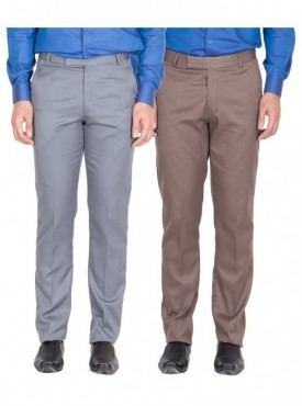 American-Elm Men Light Grey, Light Brown Colour Formal Trousers- Pack of 2