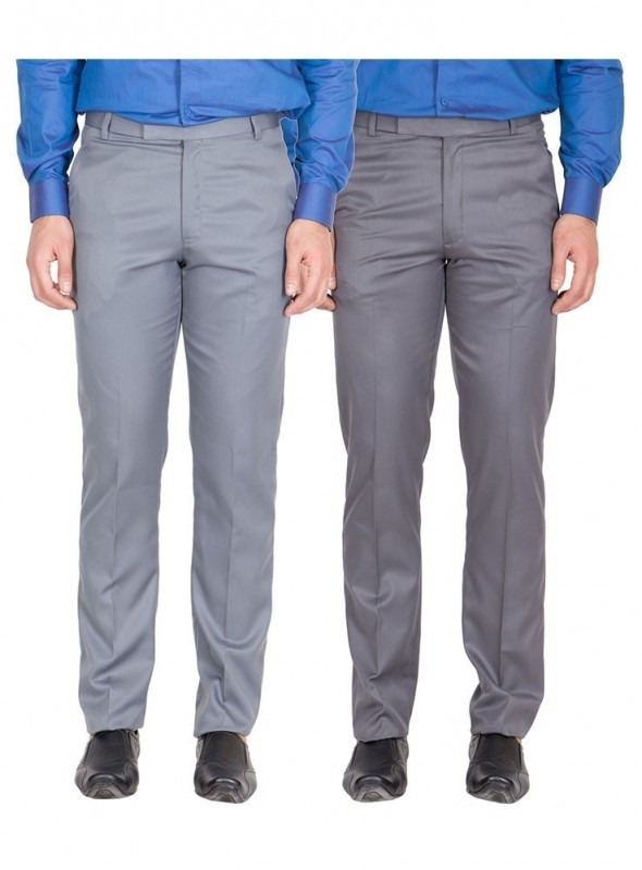 American-Elm Men Light Grey, Dark Grey Colour Formal Trousers- Pack of 2