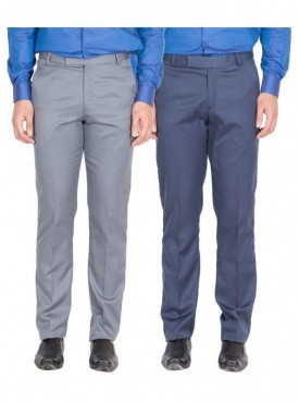 American-Elm Men Light Grey, Blue Colour Formal Trousers- Pack of 2