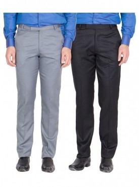 American-Elm Men Light Grey, Black Colour Formal Trousers- Pack of 2