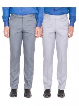 American-Elm Men Light Grey, Grey White Colour Formal Trousers- Pack of 2