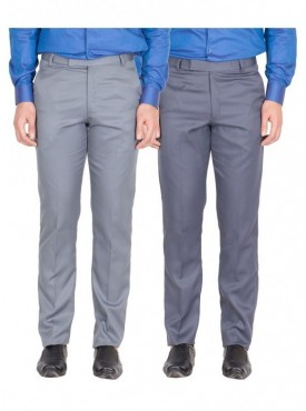 American-Elm Men Light Grey, Grey Blue Colour Formal Trousers- Pack of 2
