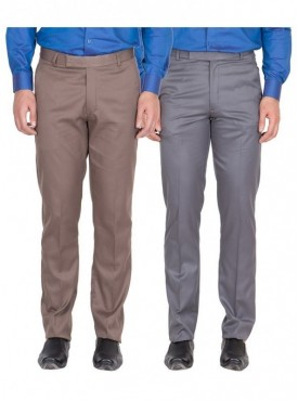 American-Elm Men Light Brown, Dark Grey Colour Formal Trousers- Pack of 2