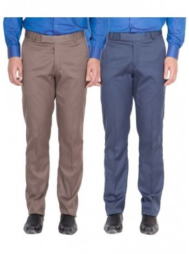 American-Elm Men Light Brown, Blue Colour Formal Trousers- Pack of 2