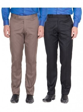 American-Elm Men Light Brown, Black Colour Formal Trousers- Pack of 2