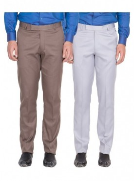 American-Elm Men Light Brown, Grey White Colour Formal Trousers- Pack of 2