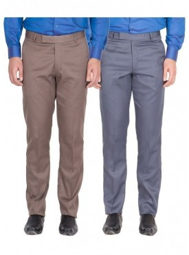 American-Elm Men Light Brown, Grey Blue Colour Formal Trousers- Pack of 2