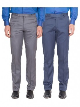 American-Elm Men Dark Grey, Blue Colour Formal Trousers- Pack of 2