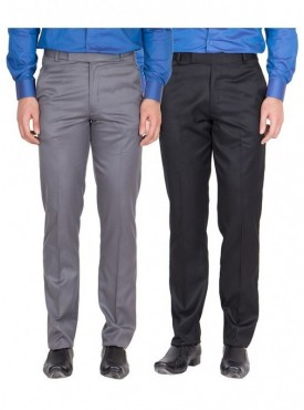 American-Elm Men Dark Grey, Black Colour Formal Trousers- Pack of 2