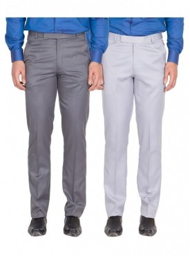American-Elm Men Dark Grey, Grey White Colour Formal Trousers- Pack of 2