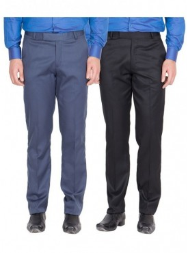 American-Elm Men Blue, Black Colour Formal Trousers- Pack of 2