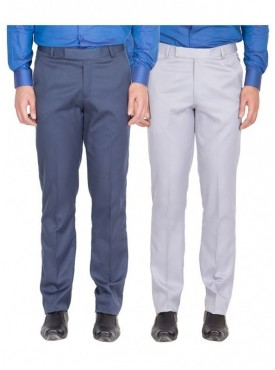 American-Elm Men Blue, Grey White Colour Formal Trousers- Pack of 2