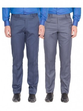 American-Elm Men Blue, Grey Blue Colour Formal Trousers- Pack of 2