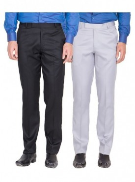 American-Elm Men Black, Grey White Colour Formal Trousers- Pack of 2