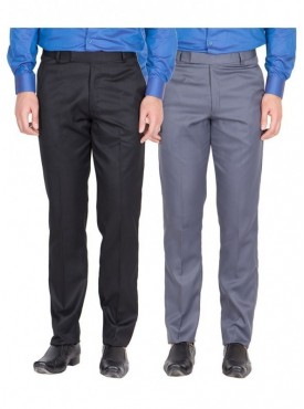 American-Elm Men Black, Grey Blue Colour Formal Trousers- Pack of 2