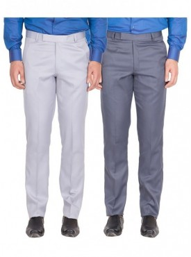 American-Elm Men Grey White, Grey Blue Colour Formal Trousers- Pack of 2