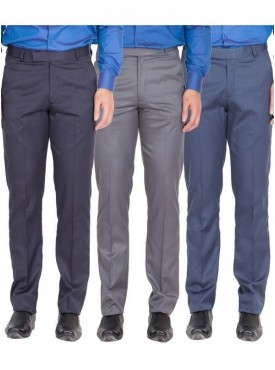 American-Elm Men Nevy, Dark Grey, Blue Colour Formal Trousers- Pack of 3