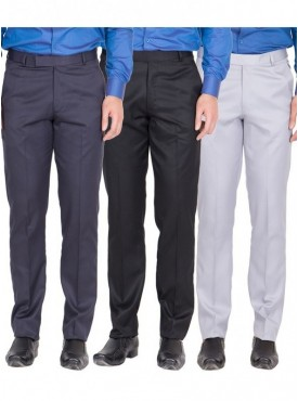 American-Elm Men Nevy, Black, Grey White Colour Formal Trousers- Pack of 3