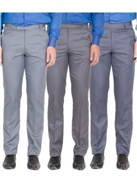 American-Elm Men Light Grey, Dark Grey, Grey Blue Colour Formal Trousers- Pack of 3