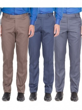 American-Elm Men Light Brown, Blue, Grey Blue Colour Formal Trousers- Pack of 3