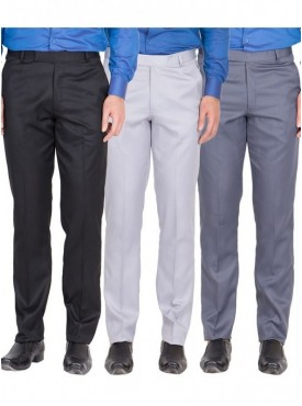 American-Elm Men Black, Grey White, Grey Blue Colour Formal Trousers- Pack of 3