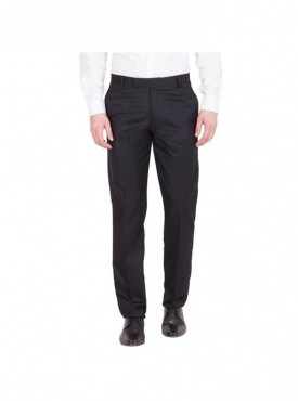 American-Elm Men Solid Cotton Formal Trouser- Black