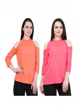 American-Elm Pack of 2 Multicolor Tops for Women