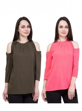 American-Elm Set of 2 Multicolor Tops for Women