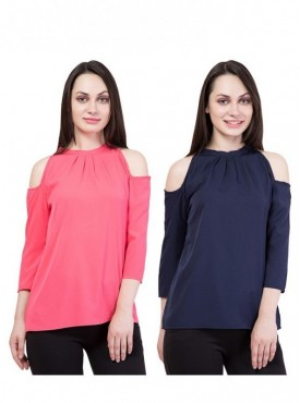 American-Elm Set of 2 Multicolor Slim fit Top for Women