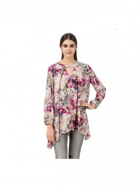 American-Elm Women Printed Multicolour Regular Fit Tops