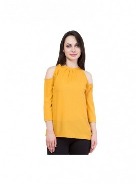 American-Elm Yellow A-Line Cold Shoulder Top