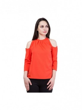 American-Elm Women  Orange A-Line Cold Shoulder Top