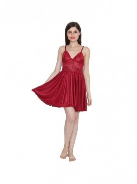 Ansh Fashion Wear Women Satin Nightwear Babydoll Dress