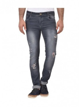 Ansh Fashion Wear Men Grey Strechable Distressed Denim Jeans