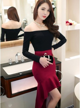 Sexy Wholesale Boat Neck Color Block Dovetail Skinny Dress