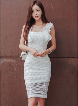 Wholesale Fashion Flouncing Square Collar Hollow Out Dress