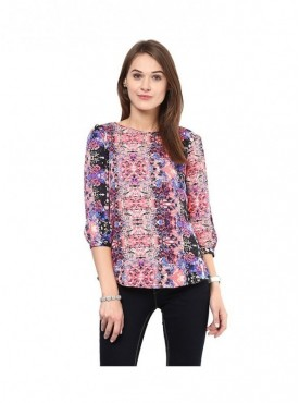 American-Elm Women Multicoloured Polyester Top
