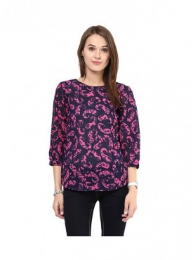 American-Elm Multi Coloured Polyester Top for Women
