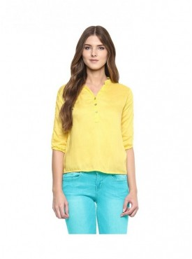 American-Elm Yellow coloured Women Solid Rayon Top