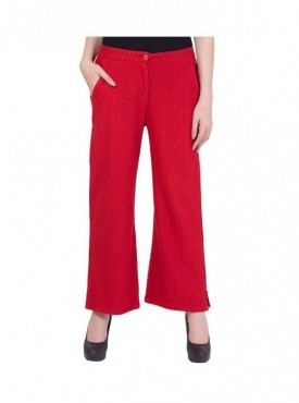 American-Elm Women Red Cotton Palazzo