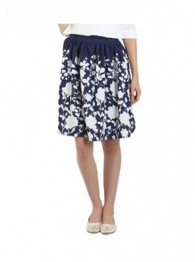 American-Elm Navy Blue Printed Skirt for Women