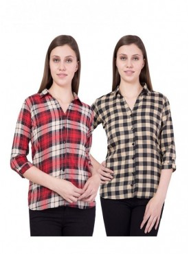 American-Elm Women Yellow and Red Pack of 2 Shirts