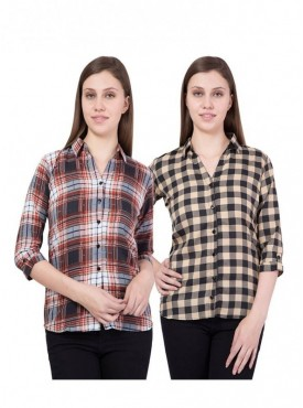 American-Elm Women Pack of 2 Multicoloured Shirts