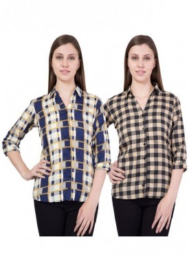 American-Elm Women Yellow and Blue Pack of 2 Shirts