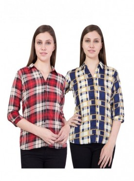 American-Elm Women Red and Blue Pack of 2 Shirts